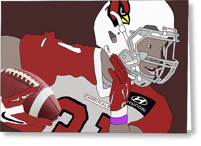Player Drawings Greeting Cards - Cardinals Football Greeting Card by Priscilla Wolfe