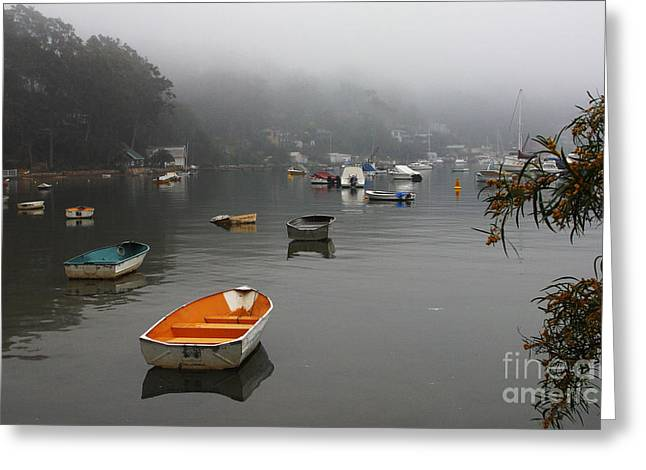 Careel Bay Mist Greeting Card by Avalon Fine Art Photography
