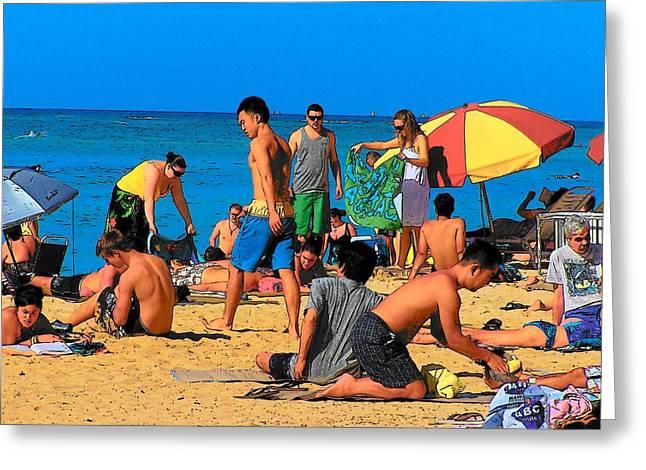 Sunbathing Greeting Cards - Carefree in Waikiki Greeting Card by Vijay Sharon Govender