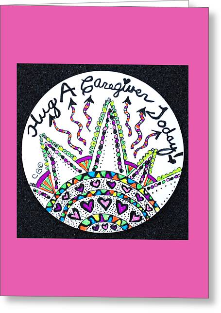 Caring Mother Greeting Cards - Caregiver Hugs Greeting Card by The Sandwich  Woman