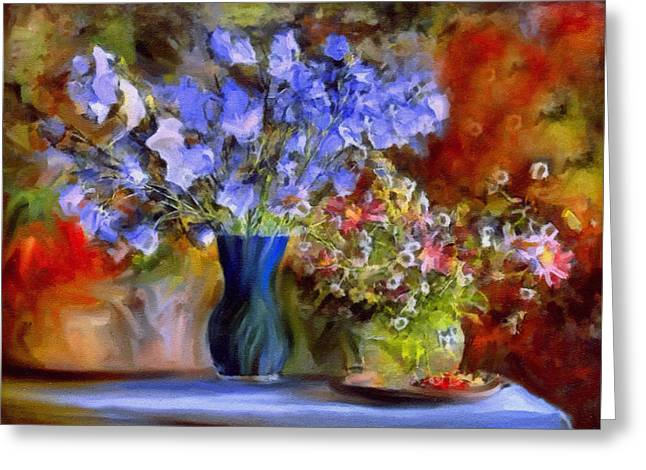 Vase Of Flowers Mixed Media Greeting Cards - Caress Of Spring - Impressionism Greeting Card by Georgiana Romanovna