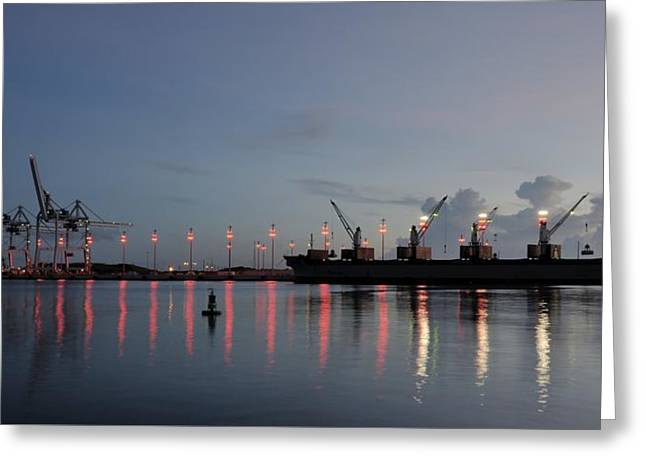 Grapple Greeting Cards - Cargo Port at Dawn Greeting Card by Bradford Martin