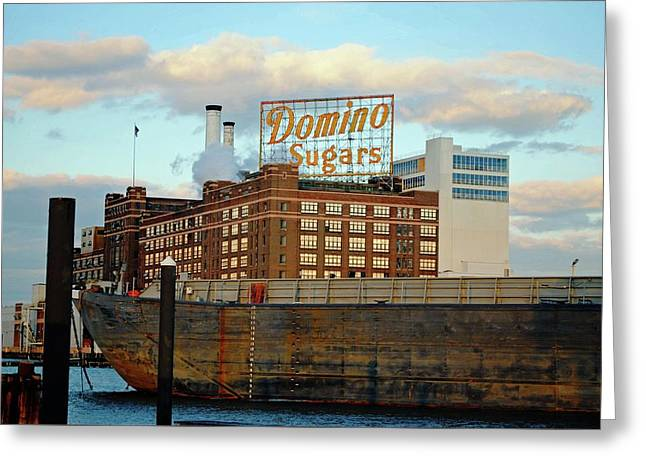 Cargo Ship Docked At Domino Sugars Baltimore, Md.  Greeting Card by Chet Dembeck