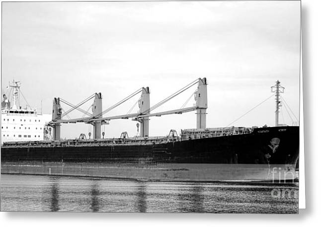 Cargo Greeting Cards - Cargo Ship on River Greeting Card by Olivier Le Queinec