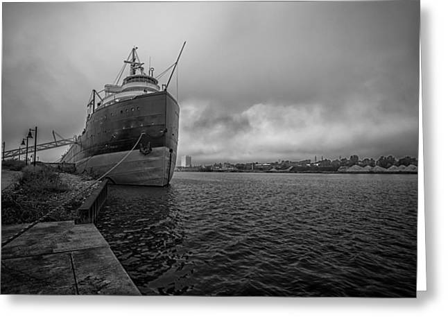 Docked Boats Greeting Cards - Cargo Ship Greeting Card by Tim The Bikeman Husted