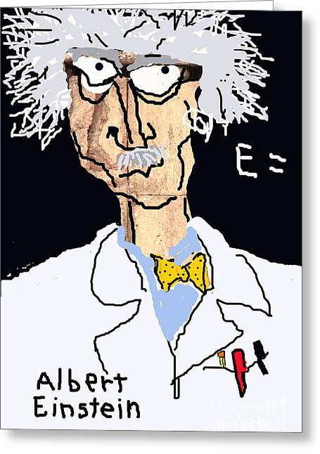 Schoolroom Greeting Cards - Einstein Caricature Greeting Card by Joe Jake Pratt
