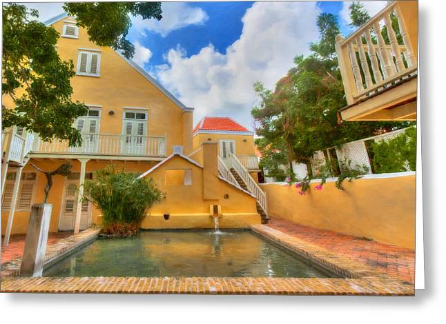 Wooden Sculpture Digital Art Greeting Cards - Caribbean Cottages Greeting Card by Nadia Sanowar