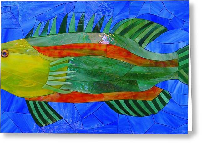 Art Glass Glass Art Greeting Cards - Caribbean Grouper Greeting Card by Charles McDonell