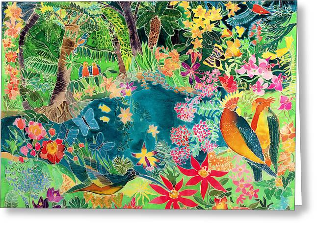 Exploring Paintings Greeting Cards - Caribbean Jungle Greeting Card by Hilary Simon