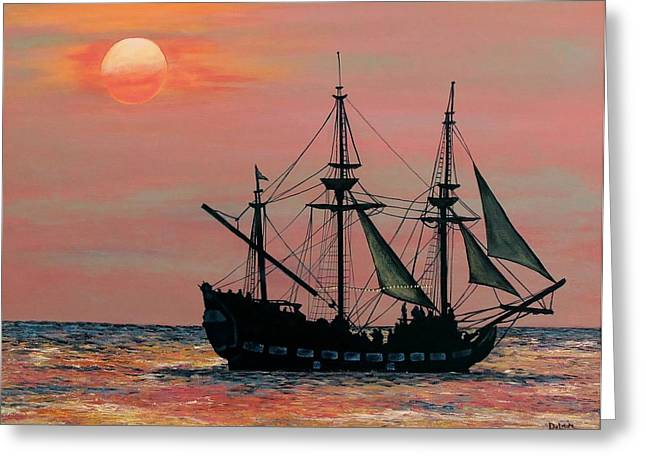 Sue Greeting Cards - Caribbean Pirate Ship Greeting Card by Susan DeLain