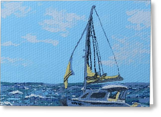 St Margaret Paintings Greeting Cards - Caribbean sailboat Greeting Card by Margaret Brooks