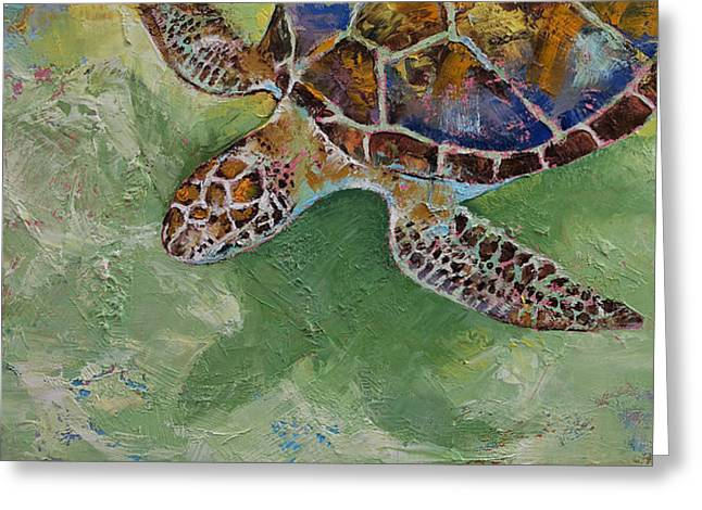 Caribbean Sea Paintings Greeting Cards - Caribbean Sea Turtle Greeting Card by Michael Creese