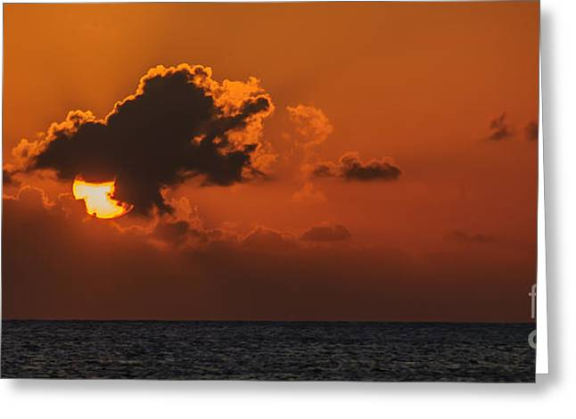 Caribbean Sunset Greeting Cards - Caribbean Sunset Greeting Card by Charles Dobbs