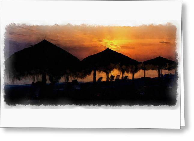 Caribbean Sunset Greeting Card by Dawn Currie