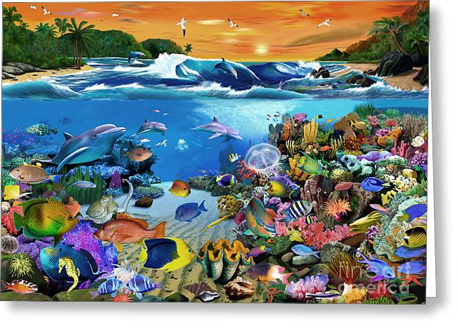Scuba Diving Greeting Cards - Caribbean Sunset Greeting Card by Gerald Newton