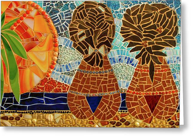Caribbean Sunset Mosaic Greeting Card by Adriana Zoon