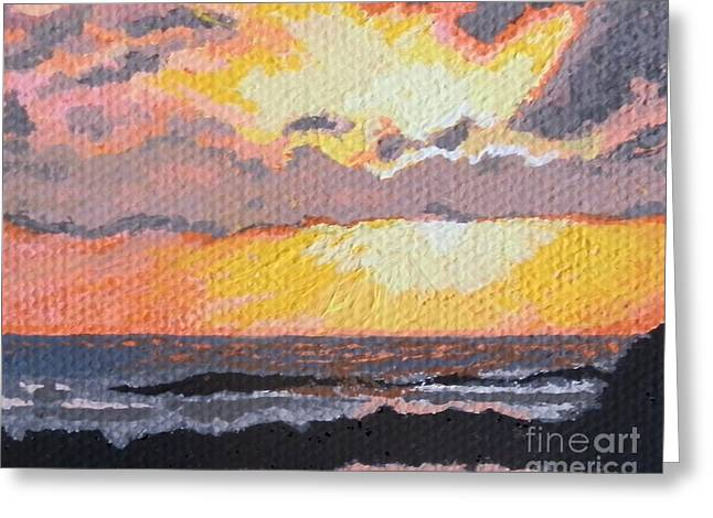 St Margaret Paintings Greeting Cards - Caribbean sunset over Great Bay Greeting Card by Margaret Brooks