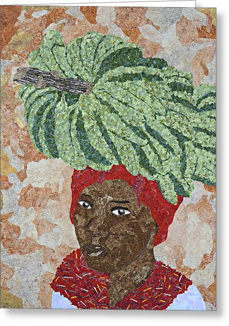 Americans Tapestries - Textiles Greeting Cards - Caribbean Woman Greeting Card by Pauline Barrett