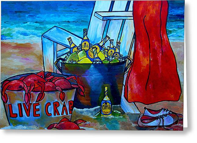 Beach House Greeting Cards - Caribe and Crab Greeting Card by Patti Schermerhorn