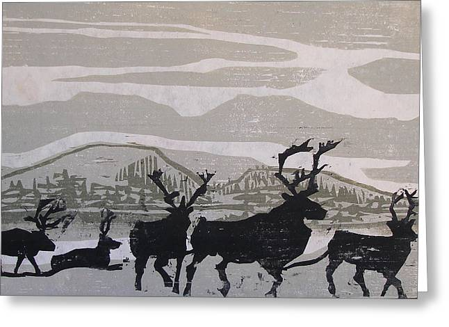 River Reliefs Greeting Cards - Caribou Yukon Territory  Greeting Card by Suzanne Giuriati-Cerny
