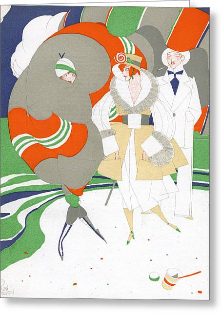 Bold Style Greeting Cards - Caricature of Flappers Wearing Furs Greeting Card by Ralph Barton