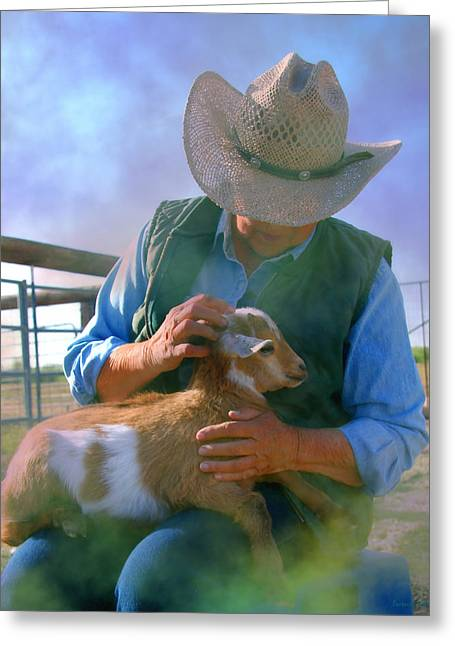 Book Cover Art Greeting Cards - Caring for Goats Greeting Card by Barbara D Richards