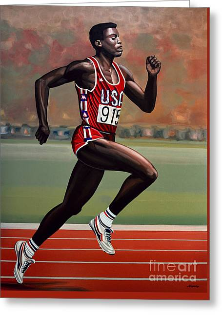 Carl Lewis Greeting Card by Paul Meijering