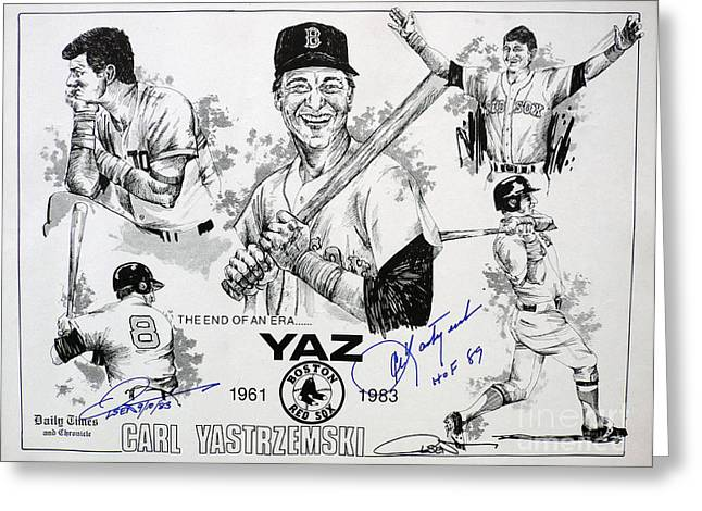 Hall Of Fame Greeting Cards - Carl Yastrzemski Retirement Tribute Newspaper Poster Greeting Card by Dave Olsen