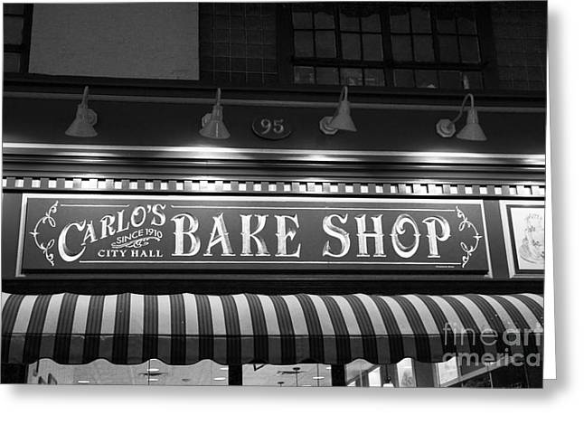 Light And Dark Greeting Cards - Carlos Bakery Black and White Greeting Card by Marina McLain