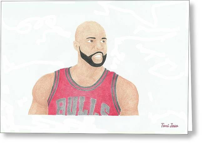 Chicago Bulls Art Drawings Greeting Cards - Carlos Boozer Greeting Card by Toni Jaso