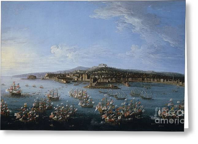 Naples Drawings Greeting Cards - Carlos III leaving the Port of Naples Greeting Card by Celestial Images