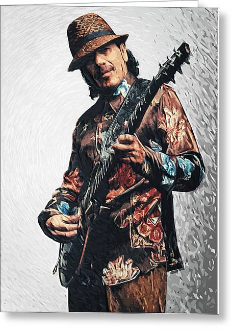 Chicano Greeting Cards - Carlos Santana Greeting Card by Taylan Soyturk