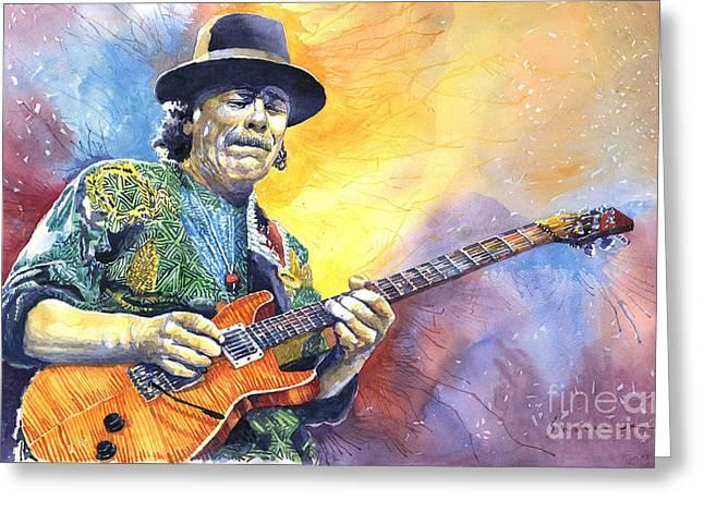 Carlos Santana Greeting Card by Yuriy Shevchuk