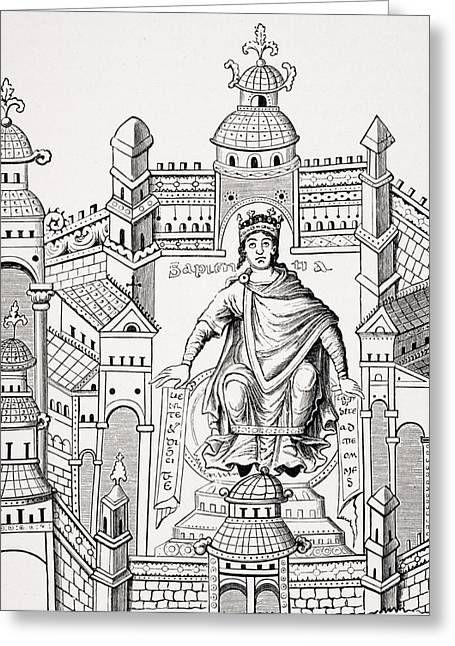 Apparel Greeting Cards - Carlovingian King In His Palace Greeting Card by Vintage Design Pics