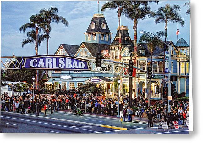 Carlsbad Village Sign Greeting Card by Ann Patterson