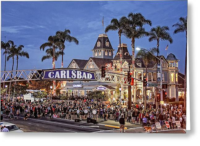 Ann Patterson Greeting Cards - Carlsbad Village Sign Lighting Greeting Card by Ann Patterson