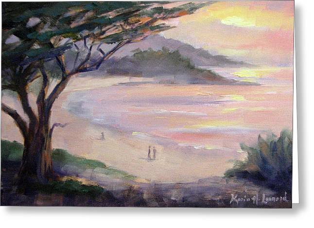 Carmel Beach Romance Greeting Card by Karin  Leonard