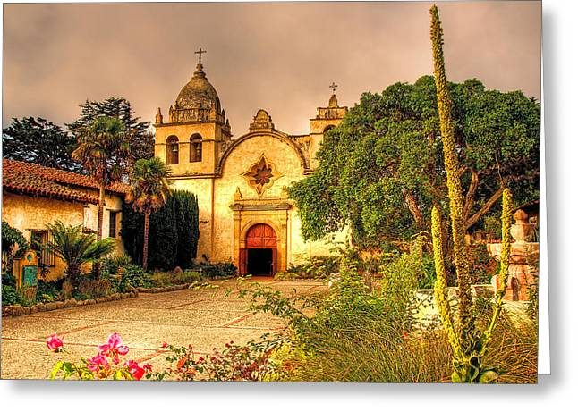 Buildings By The Sea Photographs Greeting Cards - Carmel Mission Greeting Card by Maria Coulson