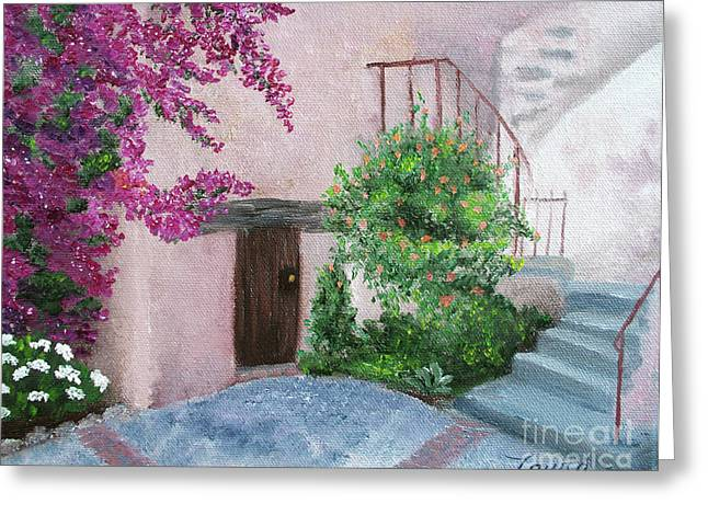 Carmel Mission Side Door Greeting Card by Laura Iverson