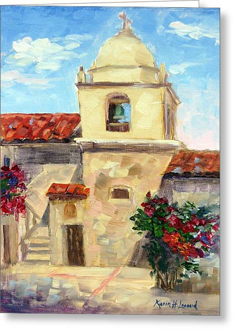 Carmel Mission, Summer Greeting Card by Karin Leonard