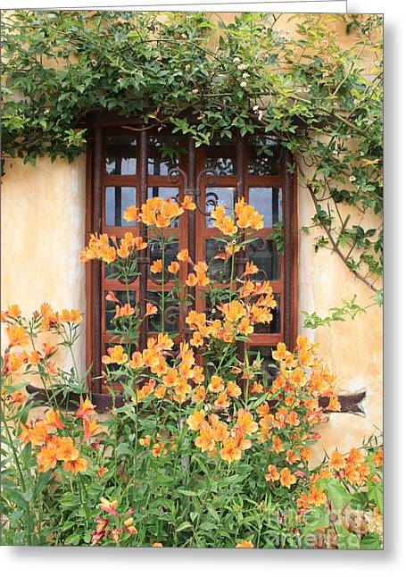 Alstroemeria Greeting Cards - Carmel Mission Window Greeting Card by Carol Groenen