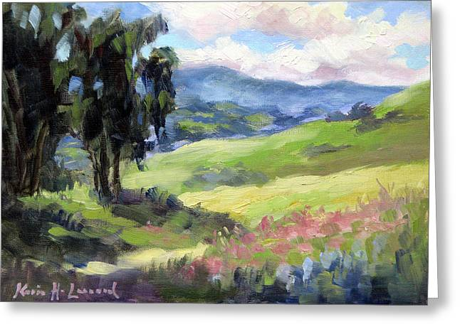 Carmel Valley Spring Greeting Card by Karin Leonard