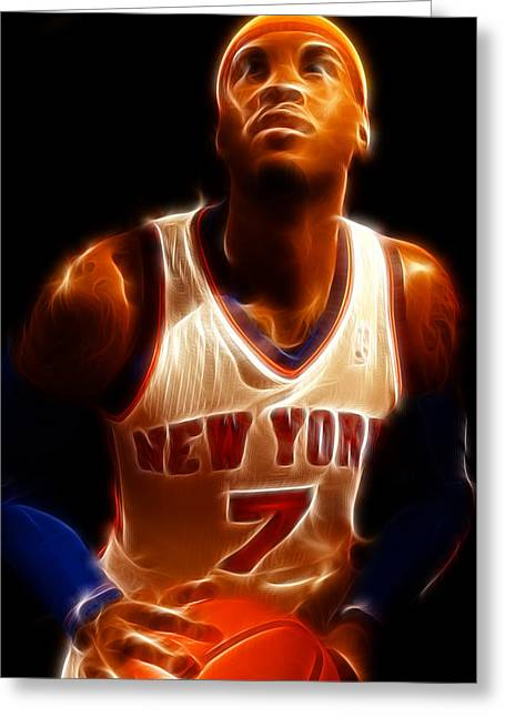Recently Sold -  - Knicks Greeting Cards - Carmelo Anthony - New York Nicks - Basketball - Mello Greeting Card by Lee Dos Santos