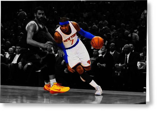 Carmelo Anthony Greeting Card by Brian Reaves