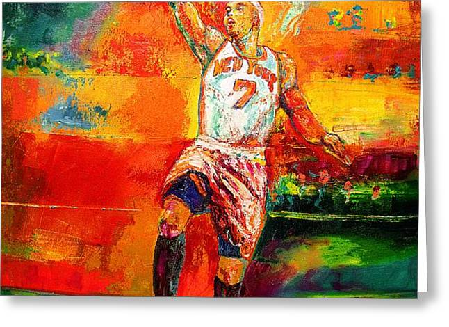 Carmelo Anthony New York Knicks Greeting Card by Leland Castro