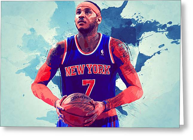 Artest Houston Rockets Greeting Cards - Carmelo Anthony Greeting Card by Semih Yurdabak