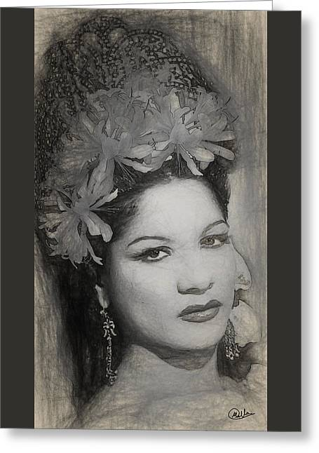 Carmen Amaya Drawing Greeting Card by Quim Abella