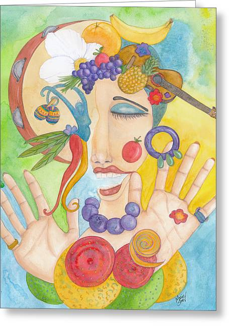 Whimsical. Greeting Cards - Carmen Miranda Greeting Card by Marie Stone Van Vuuren