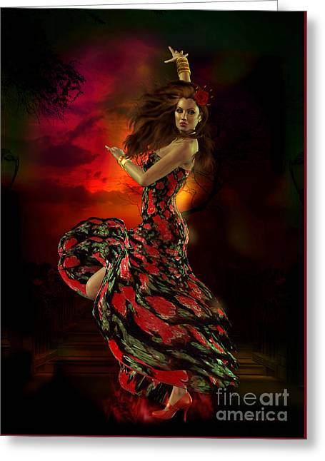 Red Hair Greeting Cards - Carmen Greeting Card by Shanina Conway