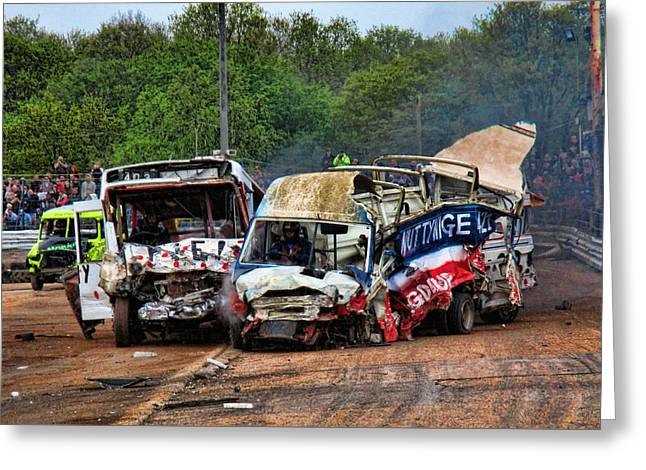 Demolition Derby Greeting Cards - Carnage Greeting Card by Sharon Lisa Clarke